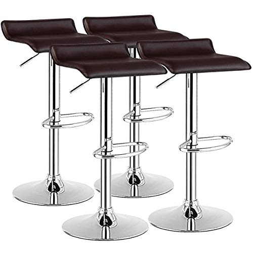 COSTWAY Bar Stool, Swivel Adjustable Contemporary Stools, Modern Design Chrome Hydraulic PU Leather Backless Barstools (Brown, Set of 4)