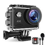 Action Cam 4K 20MP, Unterwasserkamera mit EIS Anti-Shake, Fernbedienung Externem Mikrofon Actioncam und Wasserdichte 40M Helmkamera