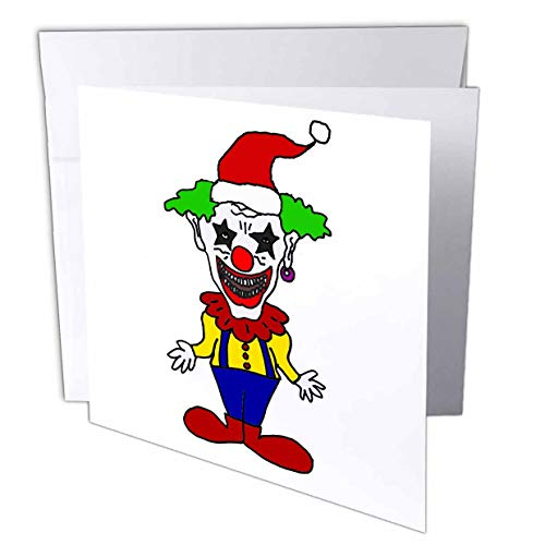 3dRose All Smiles Art Christmas - Funny Cute Evil Scary Clown in Santa Hat Christmas Cartoon - 6 Greeting Cards with envelopes (gc_265113_1)
