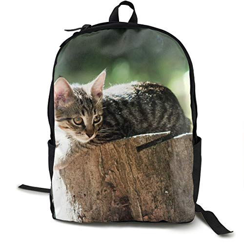 Mochila Escolar de Madera con diseño de árbol para Gatos