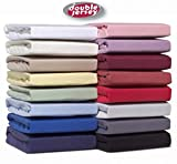 Double Jersey Drap Housse 100% Coton Peigné Jersey – Tissu Extensible, Respirant...