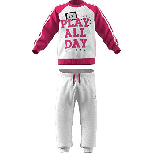 adidas Baby Graphic Jogger French Terry Trainingsanzug, Light Grey Heather/Real Magenta/White/Clear Mint, 98