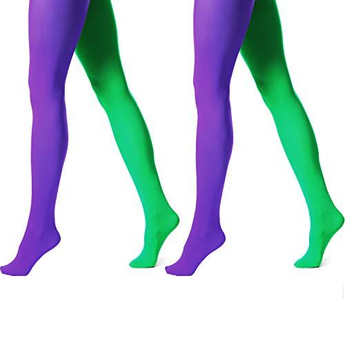 SATINIOR 2 Pares de Medias de Fiesta de Carnaval de Mujeres Medias de Pies de Microfibra con Costura de Color