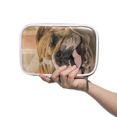 Federmäppchen Leder Kosmetiktasche Eine englische Bulldogge Keuchend Organizer Große Kapazität für die Reiseschule