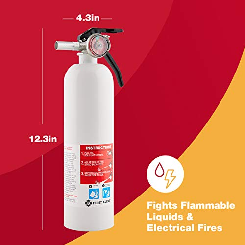 FIRST ALERT Fire Extinguisher, Recreation Vehicle and Marine Fire Extinguisher, White, Rechargeable, REC5