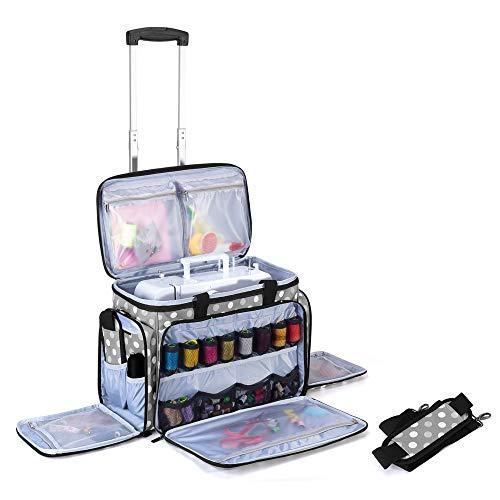 Luxja Bolsa para Máquina de Coser con Trolley desmontable, Bolsa para Máquina de Coser (Apto para la Mayoría de Las Máquinas de Coser), Puntos grises