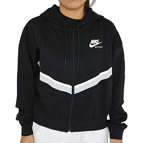 Nike Heritage Full Fleece Kapuzensweatjacke, Felpa con Cappuccio Donna, Nero/Grigio Fumo/Bianco, M