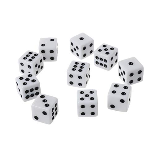 JIACUO 10 Piezas 16 mm Dados de acrílico Negro/Blanco 6 Caras Casino Poker Game Bar Party Dice D