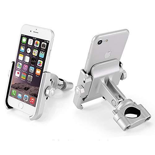KASER Soporte Móvil Teléfono Smartphone Universal para Moto Bici Scooter en Aluminio 360° Rotación para Móvil Navegador GPS (Manillar Plata)