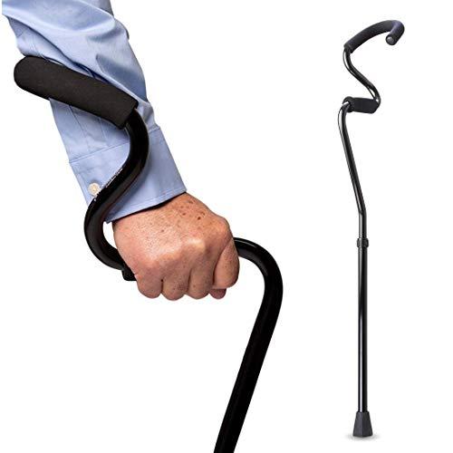 StrongArm Comfort Cane + Lightweight Adjustable Walking Cane + Stabilizes Wrist & Provides Extra Support & Stability + Ergonomic Hand & Forearm Grip + FSA/HSA Eligible (Black)