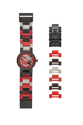 LEGO Star Wars 8020998 Kylo Ren Kinder-Armbanduhr mit Minifigur und Gliederarmband zum Zusammenbauen , schwarz/rot , Kunststoff , Gehäusedurchmesser 25mm , analoge Quarzuhr , Junge/Mädchen , offiziell