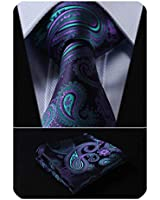 HISDERN Paisley Tie for Men Handkerchief Woven Classic Floral Men's Necktie & Pocket Square Set Navy Blue