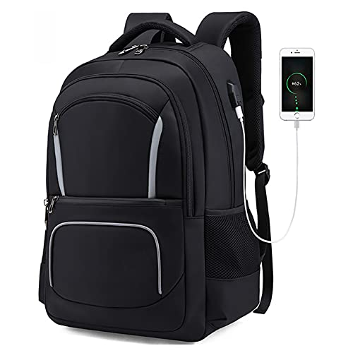 ANMJJ Studente Impermeabile USB Caricare Zainetti,Child Sportive Zaini,Alta capacità Outdoor Viaggio Borse,Nero