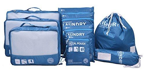 Eazeehome 9 Sets Reiseveranstalter Verpackungswürfel Gepäck Organizer in Koffer Koffertaschen Reisegepäck wasserdichte Robuste (9Sets Blau)