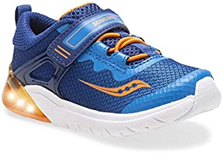 Saucony Boys' Flash Glow JR Sneaker, Blue/Orange, 9 M US Toddler