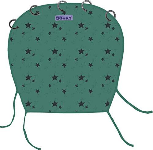 Originele Dooky Universal Cover zonwering, weerbescherming, TÜV-getest, universele pasvorm met klittenband voor babyschalen, kinderwagens en buggy, verschillende Uitvoeringen. Green Star. groen