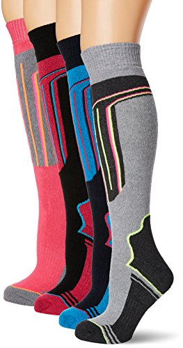 FM London Thermal Ski Socks Multipack Calcetines altos, Multicolor (Assorted), Talla única (Pack de 4) para Mujer