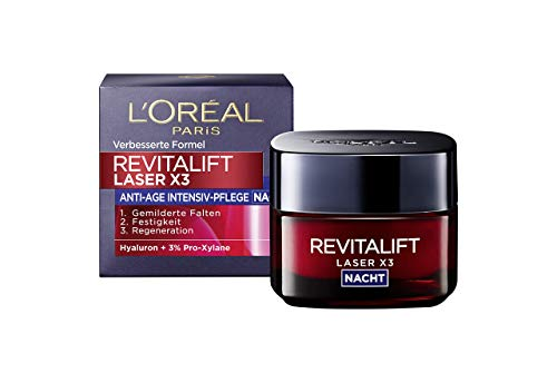L\'Oréal Paris Revitalift Laser X3 Nachtcreme mit Hyaluronsäure, Hyaluron Anti-Age Gesichtscreme, 3-fach Anti-Aging Wirkung, Wiederaufbau-Effekt über Nacht, 50ml