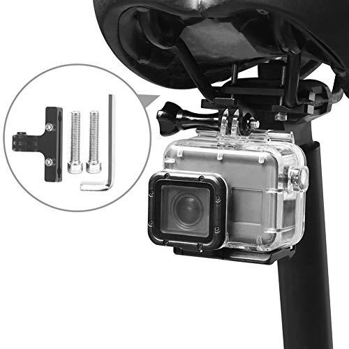 ORETG45 Fahrrad-Sattelschiene Kamerahalterung, Fahrradsitzhalterung für Go-Pro Hero7/6/5/4 D-JI Action-Kameras Zubehör, professionelle Sattelhalterung, nicht null, Schwarz , about 3 x 6cm
