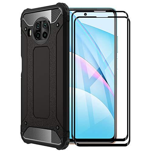 FANFO® Funda para Xiaomi Mi 10T Lite 5G, protección contra Golpes de TPU + PC Resistente a arañazos (Doble Capa) Carcasa para Xiaomi Mi 10T Lite 5G, Negro + 2 Piezas Protector de Pantalla