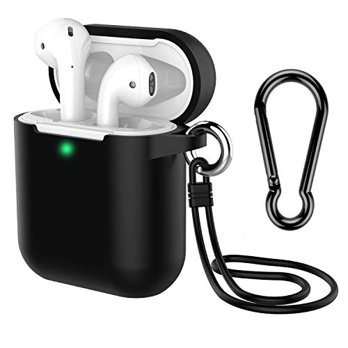 AirPods Case with Keychain, Coffea Silicone Protective Cover Skin with Stap for AirPods Charging Case 2 & 1 [Front LED Visible] (Black)
