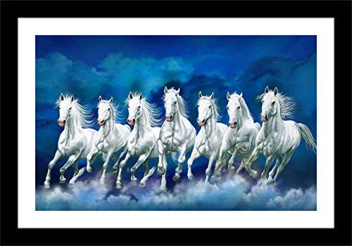 Shree Handicraft Vastu Home Decorative Seven(7) White Running Horse Photo Frame for Home Deco (14 inch x 20 inch x 0.5 inch,Acrylic Sheet Used)