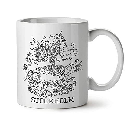 Keramisk kaffemugg, tekopp för kontor och hem, 325 ml, Stockholm City ny vit te kaffemugg, te- och kaffedrycker hem mugg