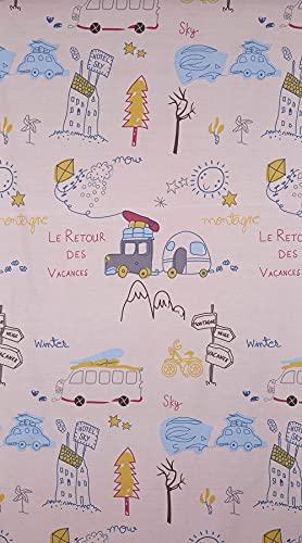 Kt KILOtela Tela por Metros de sábana Estampada - Algodón y poliéster - Retal de 300 cm Largo x 270 cm Ancho | Caravanas, Furgonetas - Rosa - 3 Metros