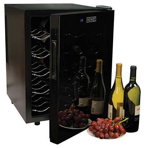 Koolatron WC20 Thermoelectric Wine Cooler 20 Bottle Capacity with Digital Temperature Controls - Vibration-free and Quiet Cooling Power, 5 Removable Shelves, Black