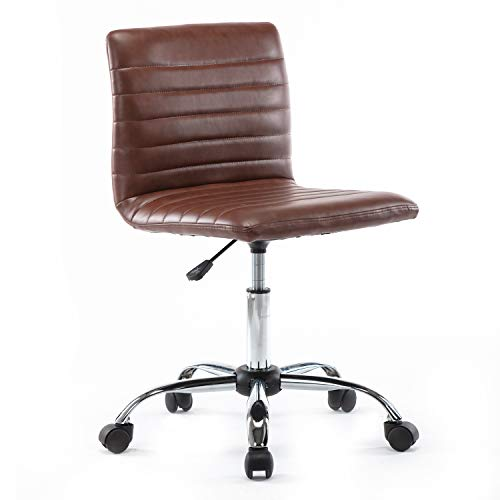 Armless Office Chair, Swivel Leather Home Office Computer Desk Chair for Office Conference Study Room Low-Back Task Executive Chair (Brown)