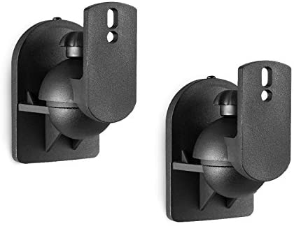 WALI Dual Speaker Wall Mount Brackets Multiple Adjustments for Bookshelf, Surround Sound Speakers, Hold up to 7.7 lbs, (SWM202), 2 Packs, Black