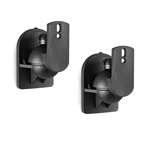 WALI Dual Speaker Wall Mount Brackets Multiple Adjustments for Bookshelf, Surround Sound Speakers, Hold up to 7.7 lbs, (SWM202), 2 Pack, Black