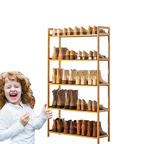 Yirunfa Estantería para Zapatos de 5 Niveles, para 20 Pares Zapatos, En pie Zapatero de Bambú Multiuso Capacidad, Soporte para Plantas con Asas, 68 * 25 * 128CM para Entrada, Baño, Cocina