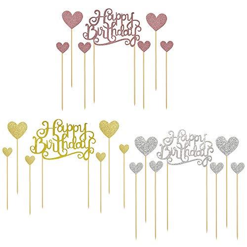 gotyou 21 Piezas Topper de Pastel de Cumpleaños, Happy Birthday Cake Topper Love Heart Shape Cupcake Insert Set, Topper de Pastel de Cumpleaños Palillos de Magdalena de Happy Birthday para Decoración