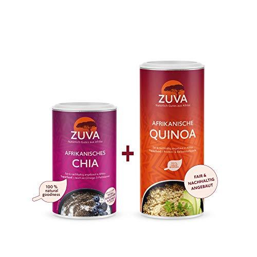 ZUVA Superfood-Paket: Weisse Quinoa + Schwarze Chiasamen, Hochwertig/Premium, das Superfood aus Afrika (400g + 250g)