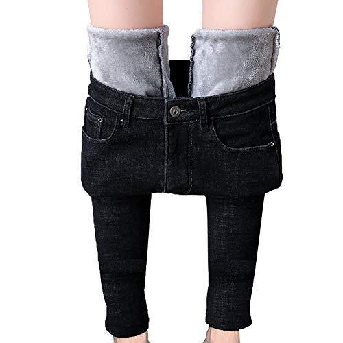 MINASAN Damen Thermohose mit Innenfleece Winterhose Heiß Warm Gefütterte Jeans Straight Hose mit Weitem Gummizug Band Jeans Leggings Fleece Treggings Damen Große Größen (Schwarz, L)