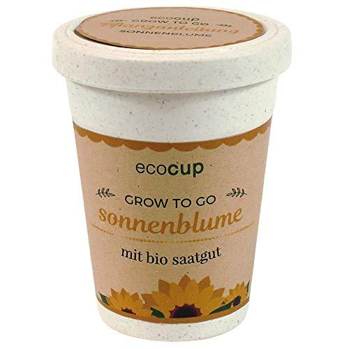 Ecocup, Sonnenblume, Bio Zertifiziert, Nachhaltige Geschenkidee (100% Eco Friendly), Grow Your Own/ Anzuchtset, Pflanzen im Coffee Cup, Made in Austria