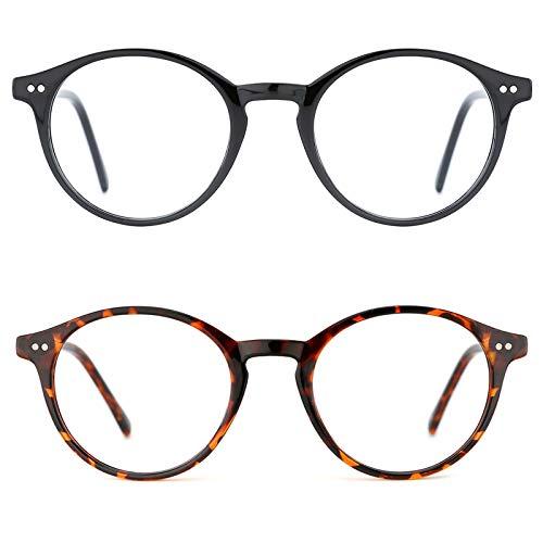 TIJN Blue Light Blocking Glasses Men Women Vintage Thick Round Rim Frame Eyeglasses ((02)-(2pack) Black&Tortoise)