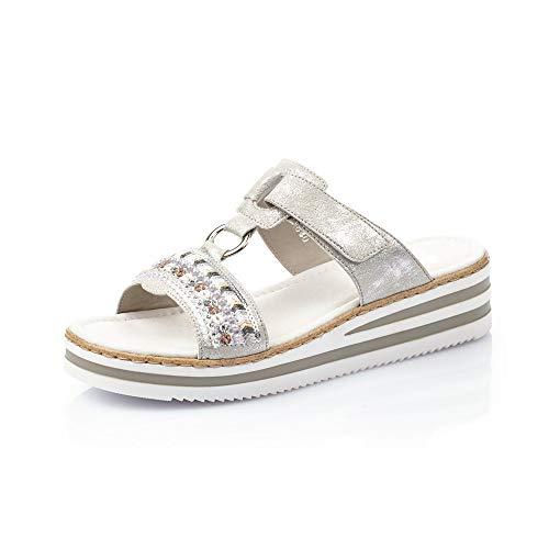 Rieker Femme Sandales V02M6, Dame Sandales compensées,Sandales compensées,Chaussures d'été,Confortable,Plat,Fog-Silver,39 EU / 6 UK