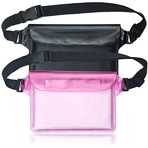 YUMQUA - Bolsa impermeable con cinturón ajustable para caayak,canotaje, vela, reafting,Camping,Senderismo,Bañar,Pesca,Protección teléfono/plata/llaves, pack de 2 (negro + rosa)