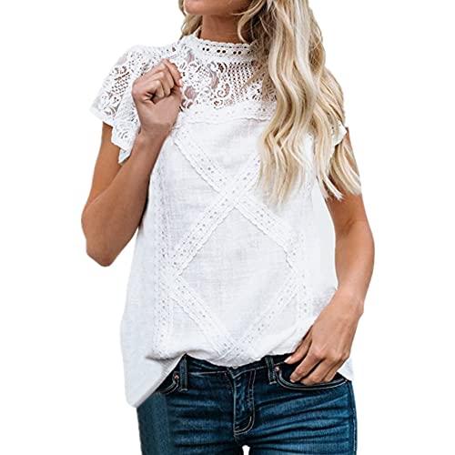 Camisa De Lino Sexy Verano Encaje Tela Suave Manga Corta Tops para Mujer Suelta Y Cómoda Camisa De Oficina Transpirable Camisa Casual De Vacaciones Blusa Simple De Color Puro E-White 5XL