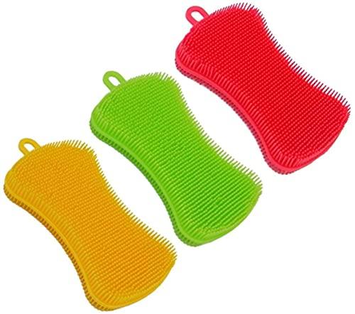 Esponja de Silicona,3 Pack Multifunción Antibacteriana Cepillo de Limpieza de Silicona Scrubber para Cocina para Ollas de Cocina, Tazón de Fuente de Pan, Frutas y Verduras