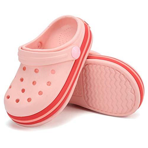 Kleinkind Clog Slippers Sandalen | Slip On Schuhe für Jungen und Mädchen | Wasserschuhe Turnschuhe Clogs Slide Gartenschuhe für Beach Pool DuscheE3GE20SDDX3-Pink-140