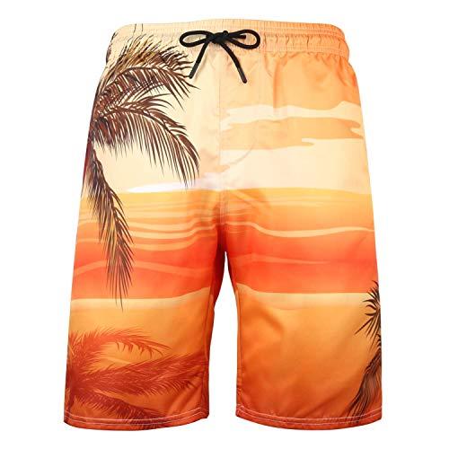 Xmiral Hose Herren Hawaii-Stil Gedruckte Kordelzug Elastische Taille Strandhosen Badehose Sporthosen Joggers Arbeit Gummiband Stretch Freitzeithose(Orange 2,5XL)