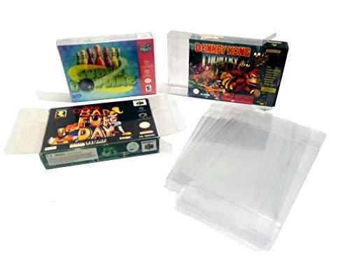 100x Schutzhülle für Super Nintendo und Nintendo 64 Originalverpackungen 0,3 MM STÄRKE SNES OVP BOX PROTECTOR GLASKLAR