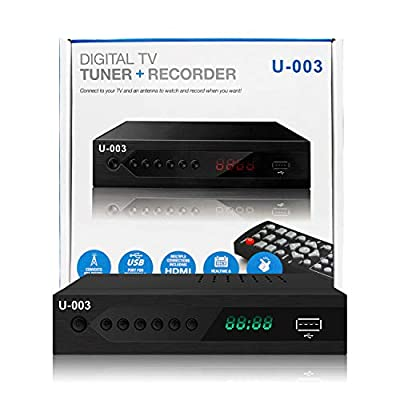 Analog to Digital TV Converters Box-UBISHENG U-003 for Analog HDTV Live 1080P ATSC Converters with PVR Recording-Playback,HDMI Output,Timer Setting LED Display HDTV Set Top Box Digital Channel Free