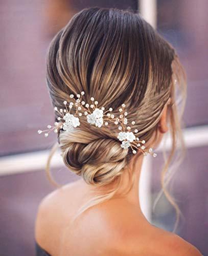 Edary mariée mariage fleur épingles à cheveux perle pièces de cheveux de mariée en or rose accessoires de cheveux de mariage pinces à cheveux de mariée pour femmes et filles lot de 3