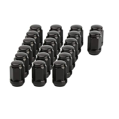 1/2-20 Black Wheel Lug Nuts, Dynofit 20pcs 1/2x20 Hex 60 Degree Steel Conical Lugnuts for Aftermarket Tuner Durango Journey Viper XJ KJ KK CJ Commander XK ZJ WJ WK Liberty TJ JK Explorer