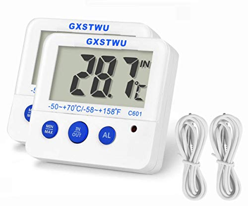 GXSTWU 新版 デジタル水温計 高温低温アラーム 水槽 水族箱 温度計 熱帯魚 最高最低温度記録 マグネット付 日本語取扱説明書付属 ホワイト(2本) 1カ年の保証