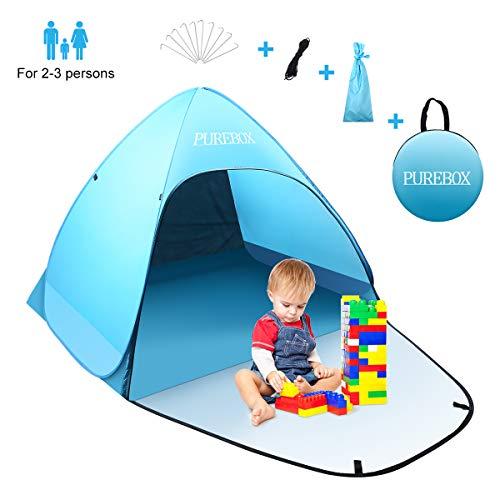 PUREBOX Grote Pop Up Beach Tent, Draagbare Automatische Waterdichte Sun Shade Tent Eenvoudige Set Up Lichtgewicht Pest Proof UV 50+ Sun Shelter voor 1-3 Persoon met Uitgebreide Rits Porch